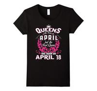 Wholesale April 18 - 100% Cotton Tee Shirt For Gildan O-Neck Women Queens Are Born On April 18 Birhtday 100% Cotton Short Sleeve Tee