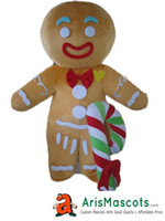 Wholesale Carnival Candy - 100% real photos Gingerbread Man with candy stick Mascot costume cartoon character mascots fancy dress costumes kids carnival party dress