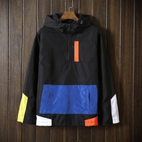 yeni erkek moda trendleri toptan satış-Toptan-Yeni Trend İlkbahar Sonbahar erkek Kazak Patchwork ceket mont erkek jaqueta Rüzgarlık moda erkek turizm ceketler Windproof