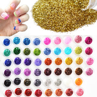 farklı renklerdeki çiviler toptan satış-60 adet Farklı Renkler Tırnak Glitter Toz Toz 3D Nail Art Dekorasyon Akrilik UV Gem Lehçe Nail Art Araçları Set NJ151
