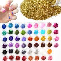 драгоценные камни оптовых-60pcs Different Colors Nail Glitter Powder Dust 3D Nail Art Decoration Acrylic UV Gem Polish Nail Art Tools Set NJ151