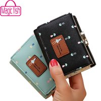 Wholesale Money Fishing - Wholesale- Magic Fish wallet for women dollar price short leather purse high quality wallets brands purse female bag money bag LM4265mf