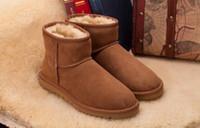 botas altas da pele dos homens venda por atacado-Venda quente de Alta Pele Clássico Mini homens MulheresWinter Snow Boots Ankle Boots WGG Frete Grátis.
