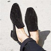 Wholesale studs spikes dress resale online - Black Silver Rivets Stud Mens Wedding Shoes Fashion Spikes Dandelion Flats Casual Leather Loafers Boats Hombre Plus Size