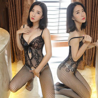 Wholesale Open Lingerie Girls - Sexy lingerie open crotch one-piece stockings cute girls hollow slender clothing overalls Sexy lingerie Even net stockings