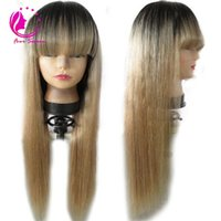 Wholesale Blond Human Hair Lace Wigs - Brazilian Ombre Human Hair Lace Front Wig 150 Density Blond Ombre Lace Wig 1bT27 Ombre Full Lace Wigs With Full Bangs Blond Hair