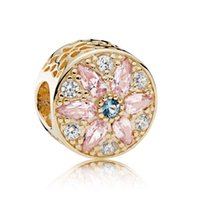 Wholesale Gold Bracelets Cross - Authentic 925 Sterling Silver Bead Charm Openwork 14ct Gold Opulent Floral With Crystal Beads Fit Women Pandora Bracelet DIY Jewelry HK3733