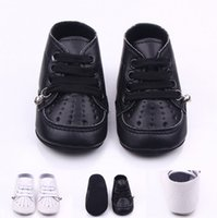 Wholesale Bell Shoes - Solid Cute Baby Newborn Shoes Prewalkers First Walkers Boys Girls Toddlers Fashion leather with Bell