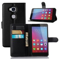Wholesale Card Holder Flip Phone Case - Fashion PU leather case for huawei Honor 5X GR5 protective cover holder wallet skin shell Lichee phone Flip stand Cases with card pocket