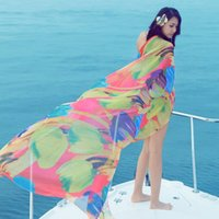 Wholesale Large Sarongs - New Fashion Trendy Women's Beach Scarf Long Print Scarf Wrap Beach Ladies Shawl Girl Large Fashion Scarf Tole Cape Sarongs