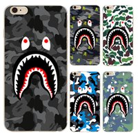 Wholesale Iphone 5c Silicone - Personality cartoon shark mouth teeth camouflage pattern soft TPU case for iphone 6 6s 7 Plus 4s 5c 5s SE transparent phone cover