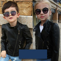 Wholesale leather jackets for kids - Fashion Spring Autumn Kids Jacket PU Leather Girls Jackets Clothes Children Outwear For Baby Girls Boys Clothing Coats Costume