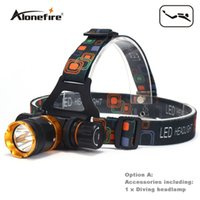 Wholesale led headlights - AloneFire DV41 Head lamp Diving light T6 LED Underwater Waterproof Headlamp mining lamp Diving head light Diving headlight