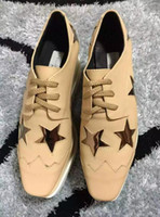 Stella Mccartney Derby Women Sneakers 7cm Talons Wedge Chaussures Elyse Platform Nude Genuine Leather Copper Star