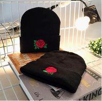 Wholesale Hiphop Skull Cap - Winter Embroidery Hats Women en Beanies Rose Knit Warm Knitted Hat Outdoor Caps HipHop Warm Knitted hat LJJK744
