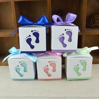 лунная свадьба оптовых-Творческий ребенок след конфеты коробки полная Луна свадебный подарок коробка маленькие ноги упаковочные чехлы бантом конфеты контейнеры популярные 0 32wj R