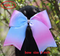 "Wholesale Hair Ponies Barrettes Wholesale - 8 style available ! 7.5"" larger jojo Ombre Cheer Bow Cheerleading Dance Hair Bow with rhinestone  Pony Tail Holder Elastic Head Loop 20pcs"