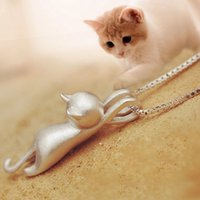Wholesale Odd Jewelry - New Fashion Lovely Silver Plated Necklace Tiny Cute Cat Pendants Odd Fancy Jewelry Charm Pendant Necklace