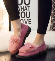 Wholesale Korean Pink Heels - Mianxiao female autumn winter students warm plus velvet Korean version of the low tide to help the bottom of the wild lazy pea