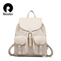 Wholesale fashion styles for teens - Wholesale- Realer Brand Preppy Style School Backpack Artificial Leather Fashion Women Shoulder Bag With Two Solid Pocket For Teens Girls