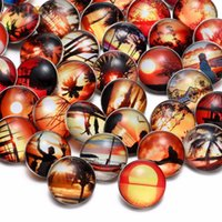 Wholesale Christmas Sketches - Wholesale 50pcs lot High Quality Sunset Love Sketch Pattern Mix Many Styles 18mm Glass Snap Button Snap Charms Fit Snaps Jewelry KZHM035