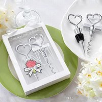 Wholesale Set Bottle Favors - Wine Bottle opener Heart Shaped Great Combination Corkscrew and Stopper Heart-Shaped Sets Wedding Favors Gift 100sets=200pcs