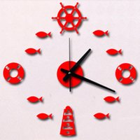Barato Diy Parede Mediterrânica-Wholesale-Newest Mediterranean DIY Rudder Fish Lifebuoy Wall Stickers Relógios Acrílico Wall Clock Home Decor