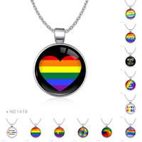 Wholesale heart cabochon glass - Unisex Trendy Love Is Love Wins Heart Gay Pride Necklace Glass Cabochon Same Sex LGBT Charm Silver Chain Necklaces