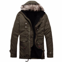 Wholesale Trench Coat Mens Large - Wholesale- 2016 Large Size Winter Jacket Men New Style Warm Parka Coat Thick Fur Collar Long Trench Coat Cotton Mens Jacket Hooded Parka
