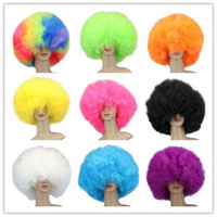 Wholesale Pink Cosplay Wigs Short - 200 g 12 Colors Women Men Children High Quality Short Culry Dance Party Cosplay Cosume Ball Fans Halloween Pink Black Purple Beige Afro Wigs