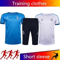Wholesale Bale Clothes - Top quality Real Madrid White blue training suit short paragraph SERGIO RAMOS RONALDO JAMES BALE Training clothes Short sleeve