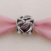 fitas de valentine venda por atacado-Dia dos Namorados 925 fita Beads prata de charme Amor único estilo europeu Pandora pulseiras jóias Colar 792046CZ amor do coração Presentes