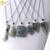 Wholesale Drop Triangle Necklaces - CSJA Spectrolite Labradorite Sword Triangle Water Drop Pendants Statement Necklaces Natural Stone Men Women Jewelry Christmas Gift E388 B