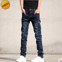 Großhandel Jugendliche Jeans Skinny Bestickte Patch Hole Ripped Bleistift Hosen Distressed Boys Stretch Hip Hop Bottoms Männer 28-36