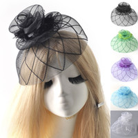 Wholesale Netted Flower Hair Clips - lady women netting flower wedding hats for brides handmade fascinator party evening bow hair pieces accessories