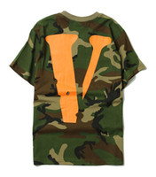 Wholesale Tops Long Back - Hot Men Boys Vlone Camo Short Sleeve T shirt camouflage Back Big V print Tees Hiphop Sport Tops
