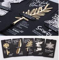 marcador de metal dorado al por mayor-Bookzzicard Marcadores de oro de 18 quilates Boda Párrafo de metal dorado Marcadores creativos Favores de la boda Llave de oro Palmera Pluma de copo de nieve