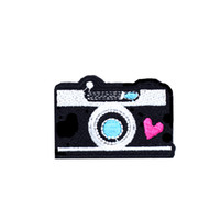 Wholesale Clothing Stickers For Kids - 10PCS Camera Embroidered Patches for Clothing Iron on Transfer Applique Patch for Jeans Bags DIY Sew on Embroidery Kids Stickers