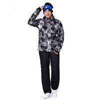 Wholesale Plus Size Cream Suits - Wholesale- Skiing and Snowboarding Suit for Men Russian Winter Walk -30 Deegree Warm Male Mountain Skiing Snow Coats Plus size 3XL