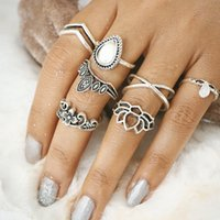 Femmes Retro Knuckle Ring Sets 7 pièces / set Big Stone Anneaux Bijoux Bijoux à eau Bagues Midi Rings Joint Ring Sculpté Flower Girl Party Mode