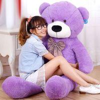 dev dolgun peluş dolması toptan satış-Sıcak Yeni TEDDY AYı Dolması Bebekler Dev Jumbo Büyük Teddy Bear Doğum Günü Hediyesi Yılbaşı hediyeleri Dik açılı Ölçümler hayvan Peluş bebekler