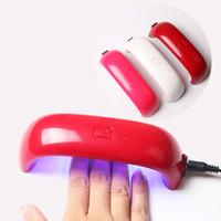 gel nail uv light toptan satış-Mini USB 9 W 3 LED UV Tırnak Kurutucu Kür Lambası Makinesi Jel Oje Güçlü UV Lambası Lehçe Işık Çivi Yüz Araçları Hızlı Kuru Çok renkler