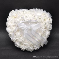 Amor Coração Branco Cristal Pérola Bridal Ring Pillow Organza Satin Lace Bearer Flor Rose Almofadas Bridal Supplies Frisado Wedding Favors Box
