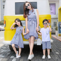 Wholesale Matching Mom Son Outfits - Mother daughter dresses Mother son outfits family matching clothes Cherry print Sleeveless Striped dress mom and daughter dress