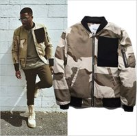 Wholesale Mens Add Jackets - Wholesale- 2017 Autumn winter Streetwear ADD Cotton Liner HipHop Clothing Mens Jackets Coats MA1 Bomber Army Camo Desert Jacket Outerwear