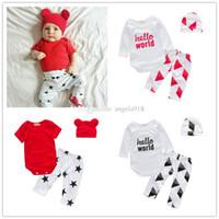 Wholesale Top Hat Sale Kids - 2017 Hot Sale INS Baby letter outfits hello world top+geometry pants+hat 3pcs set kids suit C1805