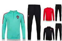 Wholesale Mens Sweaters Clothing - AAA+Top Thailand soccer tracksuit 16 17 PORTUGAL long sleeve Training suit pants football training clothes sportswear mens Sweater