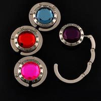 bolsa para perchero al por mayor-Plegable Gancho Bolso Holder Plegable para Bolso Bolso Monedero Accesorios de Ropa con Rhinestone MONEDERO con 12 diamantes de cristal 14 colores