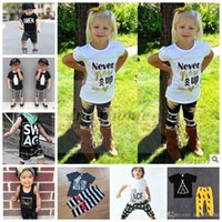 Wholesale Coloured Cotton T Shirts - Kids Ins Clothing Sets Baby Fashion Suits Girls Letter T-Shirt+Pants Infant Casual Outfits Boys Ins Tops+Harem Pants Summer Clothing B461 10