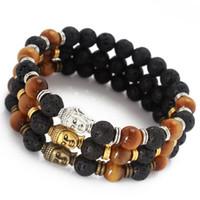 мала черное золото оптовых-Wholesale- 2015 Hot Sale Jewelry Mala Bracelet Yoga Chakra OM Yoga Tiger Eye Black Lava Gold Buddha Bracelet Energy Stone